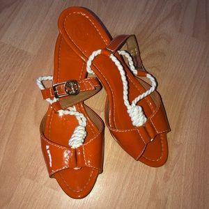 Tory Butch Orange Low Heel Sandals